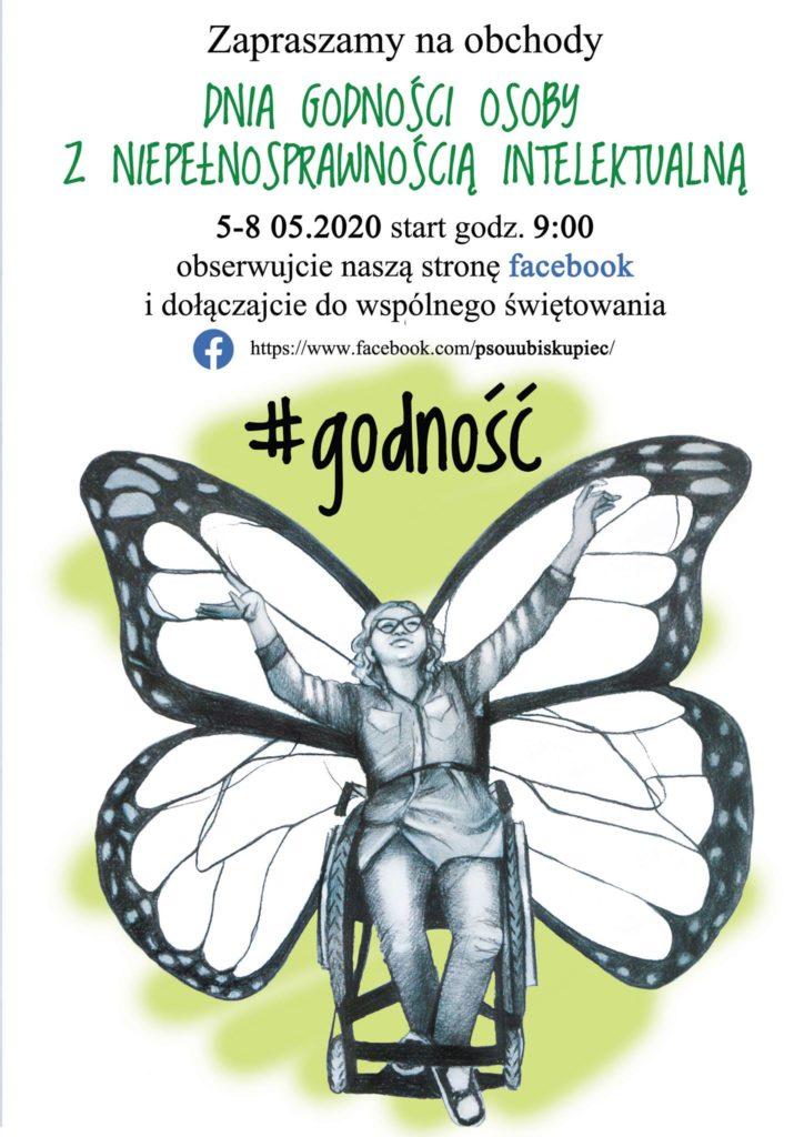 plakat dzień godności PSONI Biskupiec motyl