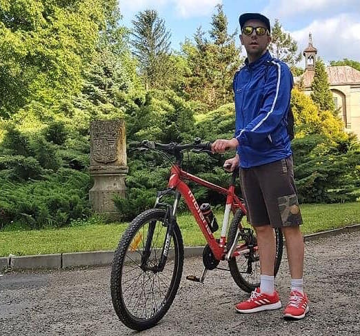 Dominik podczas rajdu rowerowego